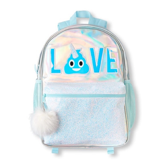 da35c664bb94 Girls  LOVE  Emoji Glitter Iridescent Backpack